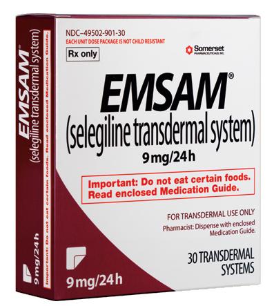 EMSAM®* (selegiline transdermal system) (Emsam) 6 mg9 mg12